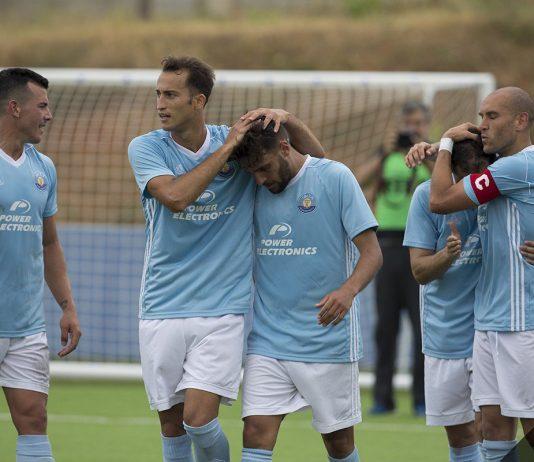 El Ibiza celebrando un gol